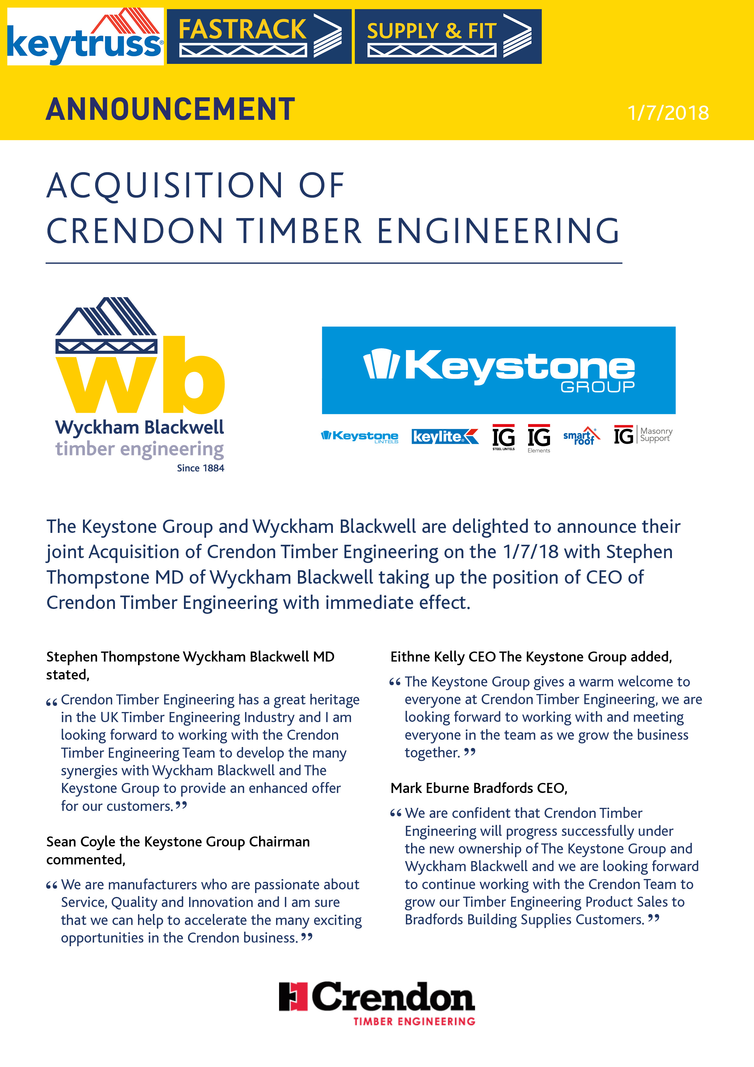 Announcement Of The Acquisition Of Crendon Timber